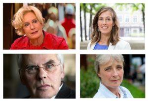 De vier sprekers op 2 november: Constance de Vries, Corinne Ellemeet, Bert Keizer en Clairy Polak.